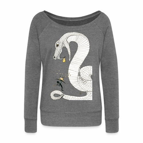 Poison - Fight against a giant poisonous snake - Women's Boat Neck Long Sleeve Top
