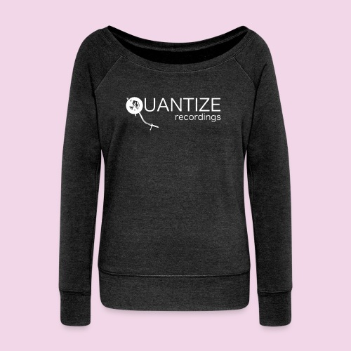 Quantize White Logo - Women's Boat Neck Long Sleeve Top