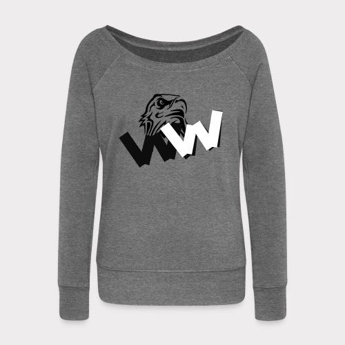White and Black W with eagle - Women's Boat Neck Long Sleeve Top