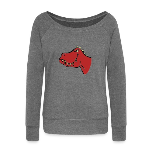 T Rex, Red Dragon - Women's Boat Neck Long Sleeve Top