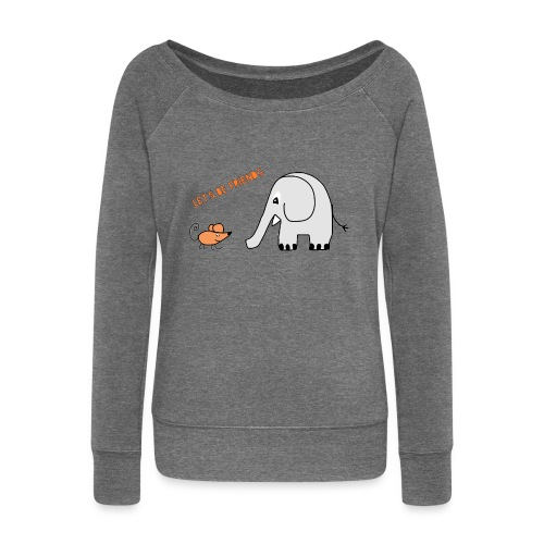 Elephant and mouse, friends - Women's Boat Neck Long Sleeve Top