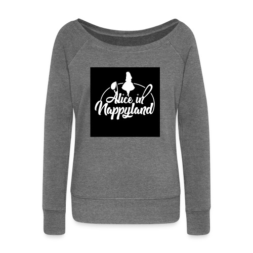 Alice in Nappyland TypographyWhite 1080 - Women's Boat Neck Long Sleeve Top