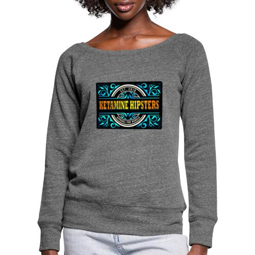 Black Vintage - KETAMINE HIPSTERS Apparel - Women's Boat Neck Long Sleeve Top