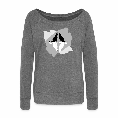 4 Cats / 4 Chats - Women's Boat Neck Long Sleeve Top
