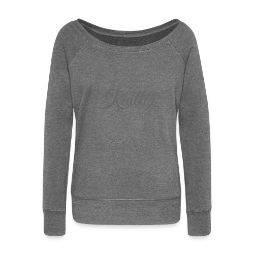 Knitter, dark gray - Women's Boat Neck Long Sleeve Top