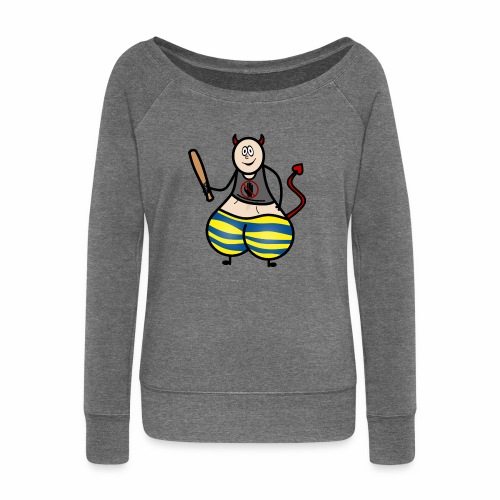 Devil No Touchies Charlie - Women's Boat Neck Long Sleeve Top