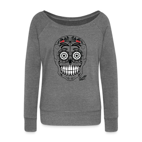 black skull with sig01 - Women's Boat Neck Long Sleeve Top