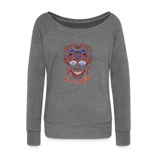 Skull Tattoo Art - Women's Boat Neck Long Sleeve Top