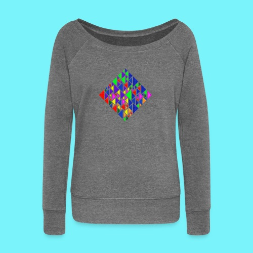 A square school of triangular coloured fish - Women's Boat Neck Long Sleeve Top