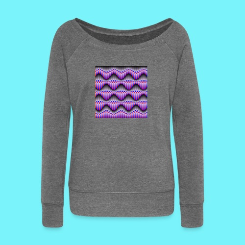 Sine waves in red and blue - Women's Boat Neck Long Sleeve Top