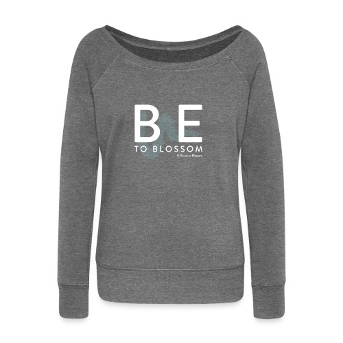 be to blossom swoosh (white) - Women's Boat Neck Long Sleeve Top