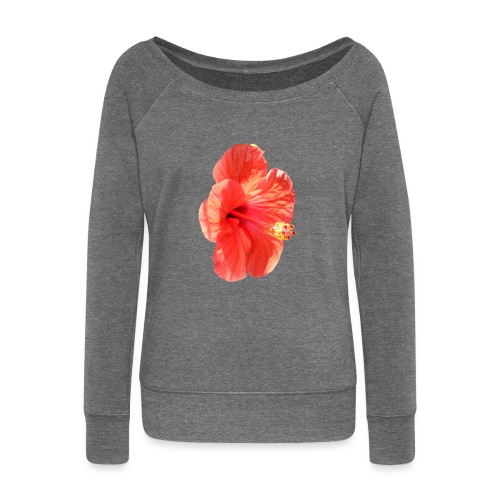 A red flower - Women's Boat Neck Long Sleeve Top