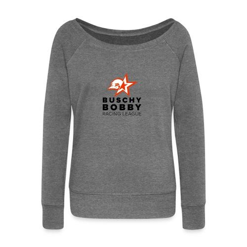 Buschy Bobby Racing League on white - Women's Boat Neck Long Sleeve Top