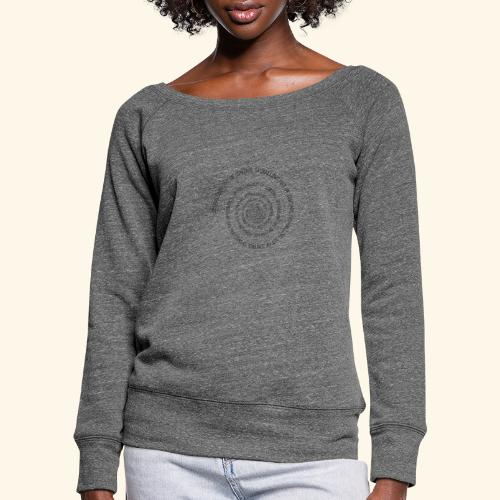 SPIRAL TEXT LOGO BLACK IMPRINT - Women's Boat Neck Long Sleeve Top