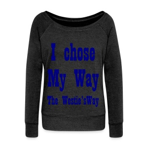 I chose My Way Navy - Women's Boat Neck Long Sleeve Top