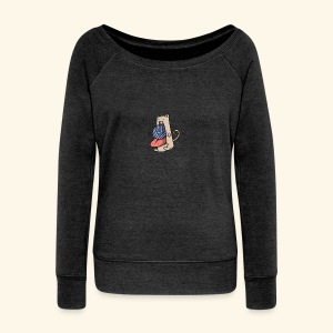 the eat-all-you-can cat - Women's Boat Neck Long Sleeve Top