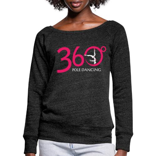 360 Pole Logo w White Writing - Women's Boat Neck Long Sleeve Top