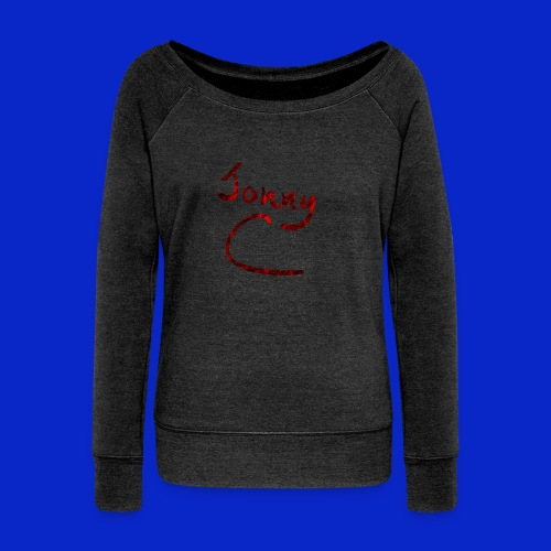 Jonny C Red Handwriting - Women's Boat Neck Long Sleeve Top