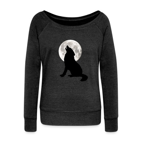 Howling wolf & the Moon - Women's Boat Neck Long Sleeve Top