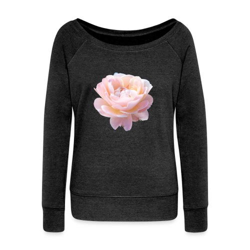 A pink flower - Women's Boat Neck Long Sleeve Top