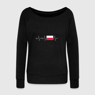 Heartbeat prezenty tętna Flaga Polska - Bluza damska Bella z dekoltem w łódkę