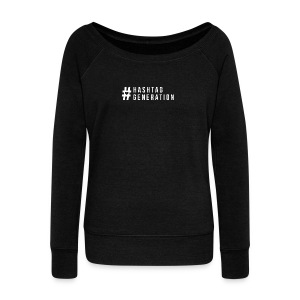 Hashtag generation logo final white - Women's Boat Neck Long Sleeve Top