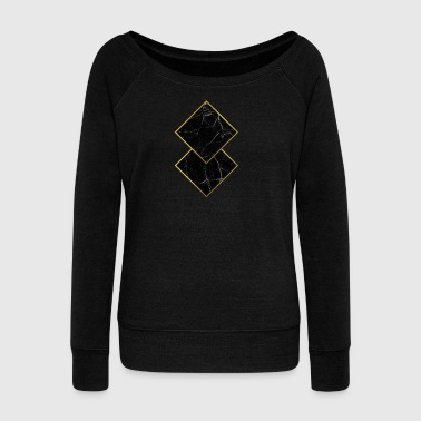 Marble Squares - Women's Boat Neck Long Sleeve Top