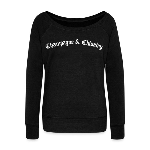 CHAMPAGNE AND CHIVALRY - Women's Boat Neck Long Sleeve Top
