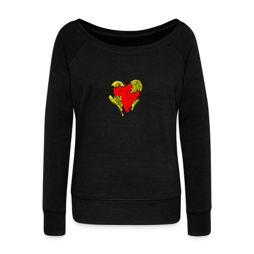 peeled heart (I saw) - Women's Boat Neck Long Sleeve Top