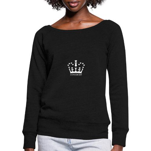 White Lovedesh Crown, Ethical Luxury - With Heart - Women's Boat Neck Long Sleeve Top