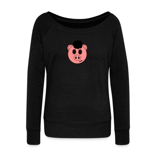 Afro Piggy - Women's Boat Neck Long Sleeve Top