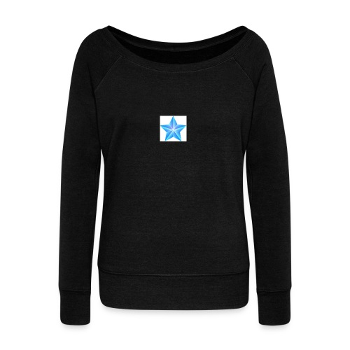 blue themed christmas star 0515 1012 0322 4634 SMU - Women's Boat Neck Long Sleeve Top