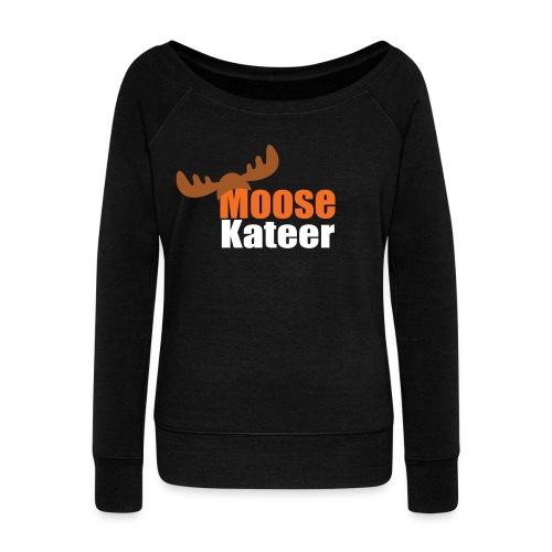 Moose-kateer (dark) - Women's Boat Neck Long Sleeve Top