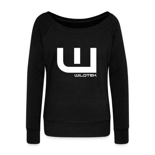 Wildtek Logo White - Women's Boat Neck Long Sleeve Top