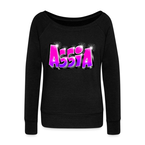 Assia graffiti name printable - Pull Femme col bateau de Bella