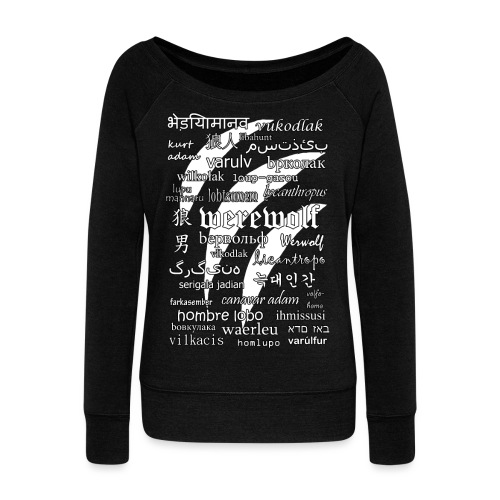 Werewolf in 33 Languages (Black Ver.) - Women's Boat Neck Long Sleeve Top