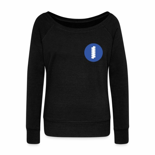 logomark in circular blue - Women's Boat Neck Long Sleeve Top