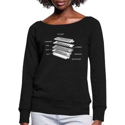 Exploded harmonica - white text - Women's Boat Neck Long Sleeve Top