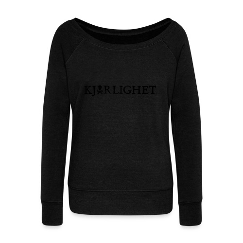 Kjærlighet (Love) | Black Text - Women's Boat Neck Long Sleeve Top