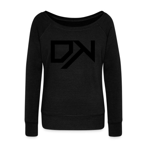 DewKee Logo Samung Galaxy S4 Case Black - Women's Boat Neck Long Sleeve Top