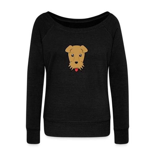 Shari the Airedale Terrier - Women's Boat Neck Long Sleeve Top