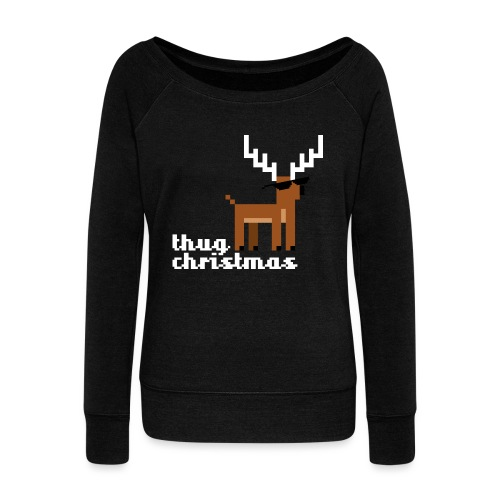 Christmas Xmas Deer Pixel Funny - Women's Boat Neck Long Sleeve Top