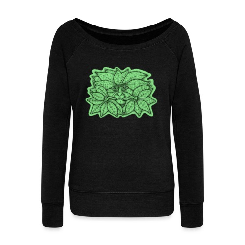 Green Man for Pagan Global Warming/Climate Change - Women's Boat Neck Long Sleeve Top
