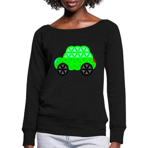 The Car Of Life - M01, Sacred Shapes, Green/R01. - Women's Boat Neck Long Sleeve Top