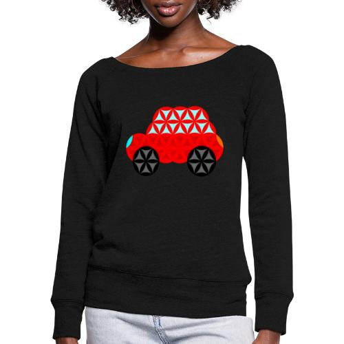 The Car Of Life - M01, Sacred Shapes, Red/R01. - Women's Boat Neck Long Sleeve Top