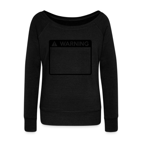 Warning Sign (1 colour) - Women's Boat Neck Long Sleeve Top