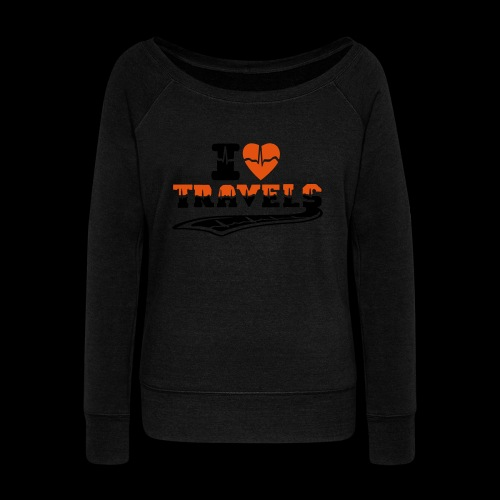 i love travels surprises 2 col - Women's Boat Neck Long Sleeve Top
