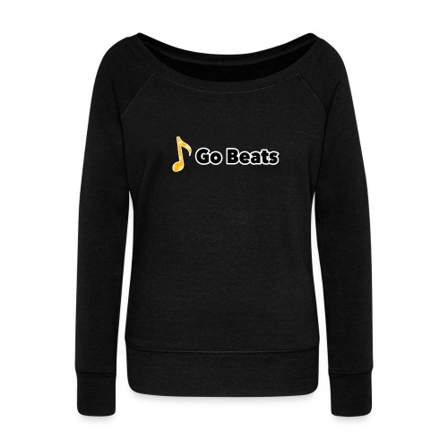 Logo with text - Women's Boat Neck Long Sleeve Top