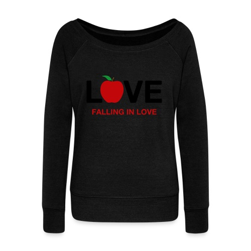 Falling in Love - Black - Women's Boat Neck Long Sleeve Top