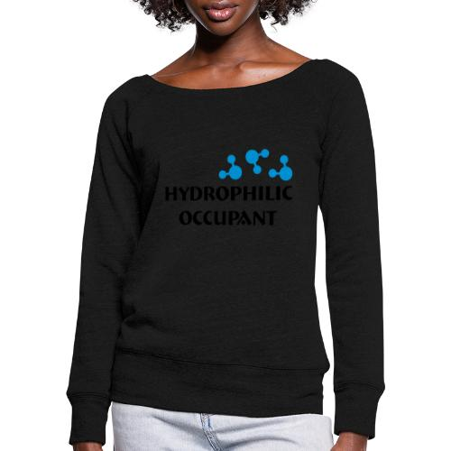 Hydrophilic Occupant (2 colour vector graphic) - Women's Boat Neck Long Sleeve Top